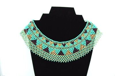 Mexican Huichol Necklace Art Beaded Adjustable Jewelry Hand Made