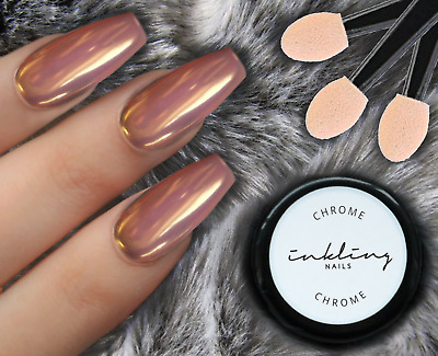 ❄☃❄ INKLING Rose Gold Chrome Mirror Effect Nails Powder Dust Polish Pigment ❄☃❄