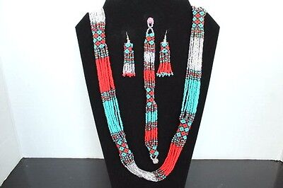 Mexican Huichol, Necklace, bracelet and earrings set Art Beaded Jewelry N-006