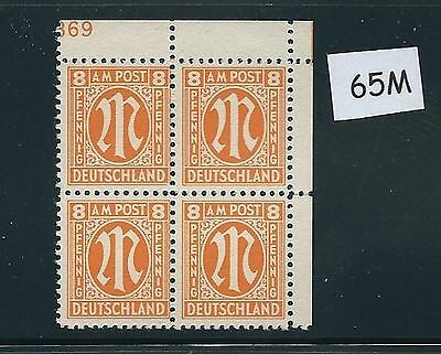 Mint stamp block #65M / PF08 / 1945 - 1946 / Allied Military Government / A.M.G.