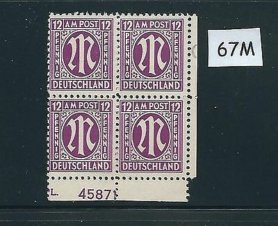 Mint stamp block #67M / PF12 / 1945 - 1946 / Allied Military Government / A.M.G.