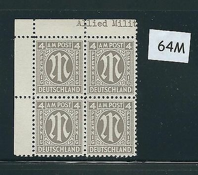 Mint stamp block #64M / PF04 / 1945 - 1946 / Allied Military Government / A.M.G.