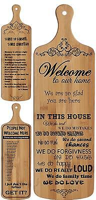 Laser Engraved Bamboo House Home Welcome Rules Wood Hanging Wall Art