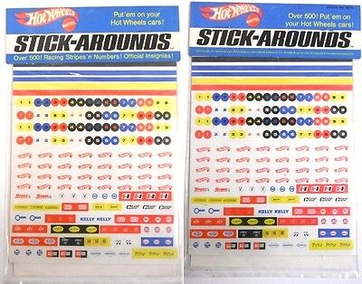 1969 Hot Wheels Stick-Arounds Over 500 Racing Stripes Numbers Insignias MPN 6473