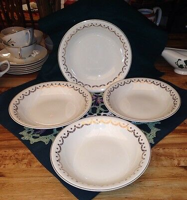 "Four 1946 Edwin Knowles Pattern ""James Gold Festoon"" Coupe Soup Bowls"