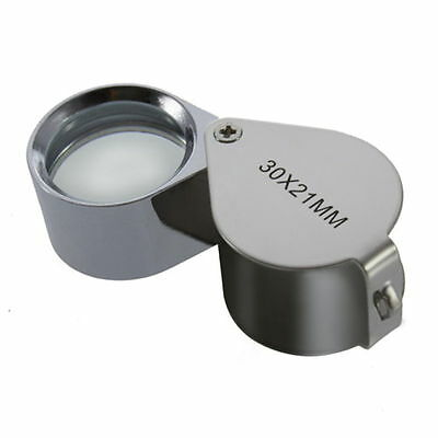 Jeweler Eye Loupe Loop Stain Less Steel Jewelry Loupe 30X Power Glass Magnifier