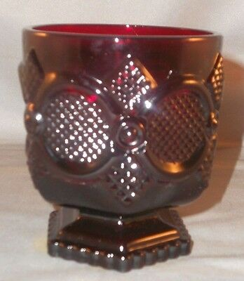 """Avon Ruby Glass Cape Cod Footed Tumbler 3 3/4"""" Tall"""