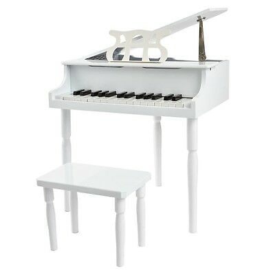 Kid's White Wooden 30 Key Toy Grand Piano with Bench