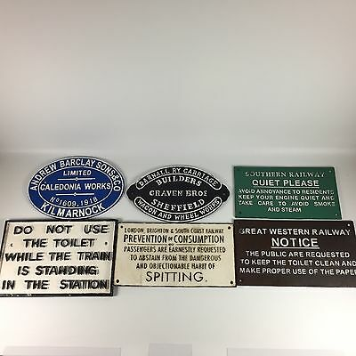 6 RAILWAY Cast Iron Signs Vintage-Style Reproductions