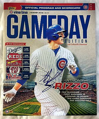 ANTHONY RIZZO Signed 2013 CHICAGO CUBS Scorecard 2016 Champions Program