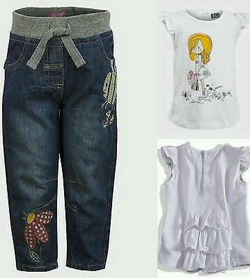 Baby Girls Jeans Denim & White T Shirt Top Girl Motif Outfit Age 2 3 Years