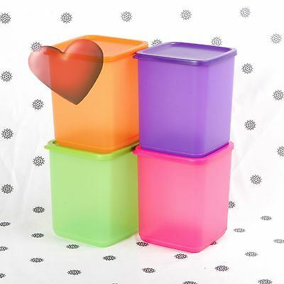 NEW Tupperware Square Rounds set of  4 x 1.8 Litre storers Pink Purple Orange
