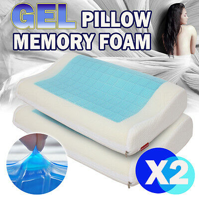 2X Supreme High Density Cool Gel Top Memory Foam Pillow Contour With Cover 2017