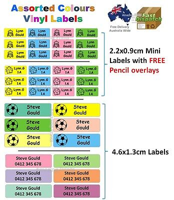 Assorted Colors Vinyl Personalised Name Label Sticker school book tag boy girl
