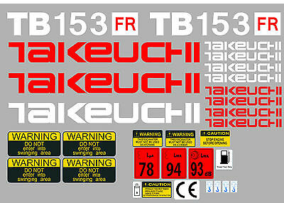 Takeuchi Tb153Fr Mini Digger Complete Decal Set With Safety Warning Signs