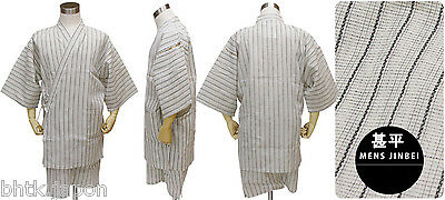 甚平 - Jinbei - Tenue traditionnelle japonaise LL - Blanc gris - Import Japon
