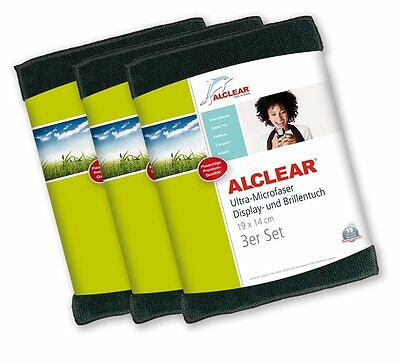 ALCLEAR® 3-er Set Ultra-Microfaser DISPLAYTUCH anthrazit 19x14cm 950003A Brille