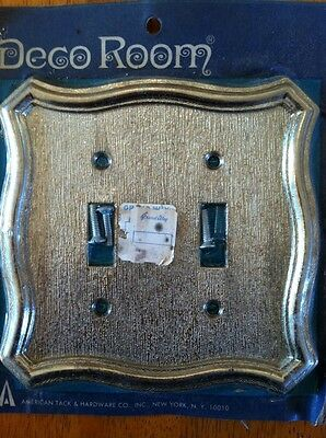 1960's Solid Brass Dual / Double Light Switch Cover Plate VTG NOS New Old Stock