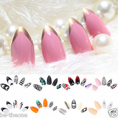 24pcs False Nails Full Cartoon UV Gel Nail Art Stiletto Tips DIY Oval Fingernail