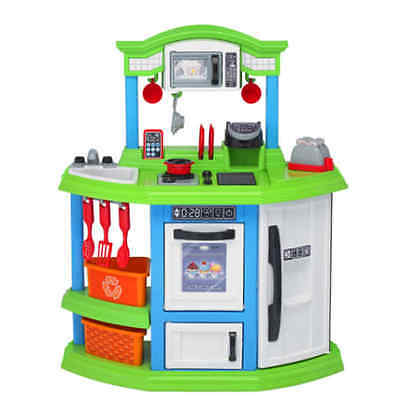 Pretend Play Kitchen Set For Kids Cooking Food Toy Green Playset Girls Boys Toys