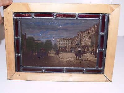 "Stained Glass Window picture print 1800s English European Street Scene 10""x14"""