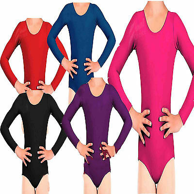 Girls Plain Long Sleeve Gymnastic Dance Sport Shinny Jazz Leotard Lot Swimwear