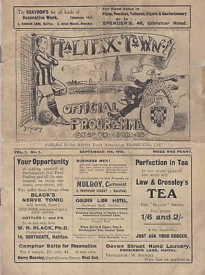 1912/13 Halifax Town v Doncaster Rover (First Ever Programme Volume 1 Number 1)