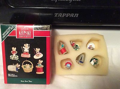 Hallmark 1992  Sew Sew Tiny Mini Ornaments Set if 6