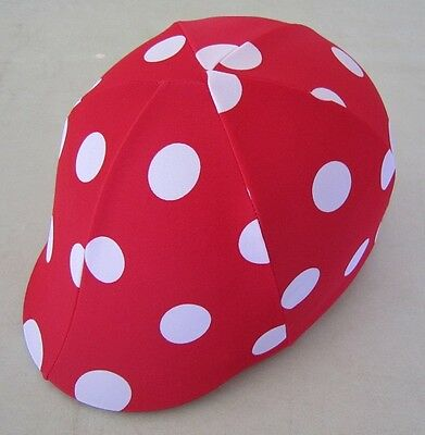 Horse Helmet Cover ALL AUSTRALIAN MADE Red with white dots Any size you need