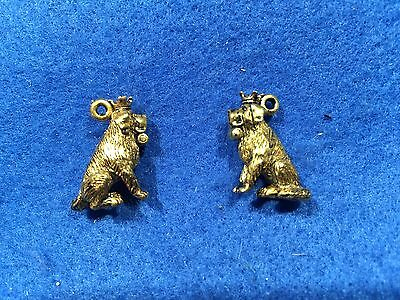 Lot of 2 Vintage Saint St. Bernard Dog With Crown Charms