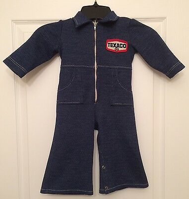 Vtg Baby Jumper Texaco Coveralls Pontiac GTO Mechanic Overalls Clothes Denim 70s
