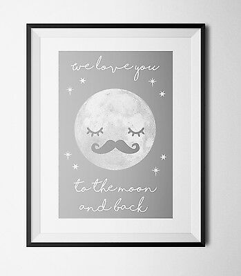 cute moon A4 Print Christening Gift  Newborn Baby nursery decor