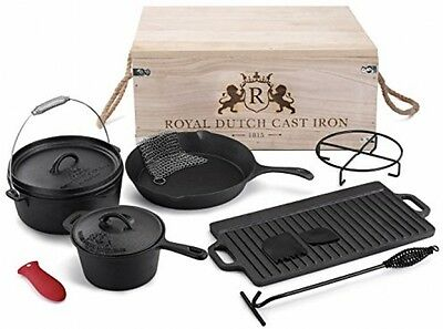 Royal Dutch Cast Iron 11 Piece Cook Box Set With Vintage Carrying Storage Box,