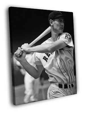 Ted Williams Boston Red Sox Retro Classic BW FRAMED CANVAS PRINT Toile