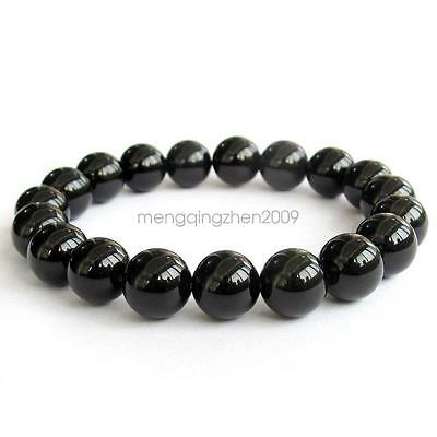 10mm Black Agate Gemstone Tibet Buddhist Prayer Beads Mala Bracelet Bangle