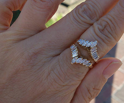 1.70ct Marquise baguette solitaire diamond wedding band guard 14k YG