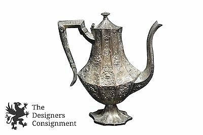 Antique KS Marked Silver Plate Repousse Coffee Tea Pot Pitcher Cherubs Ornate