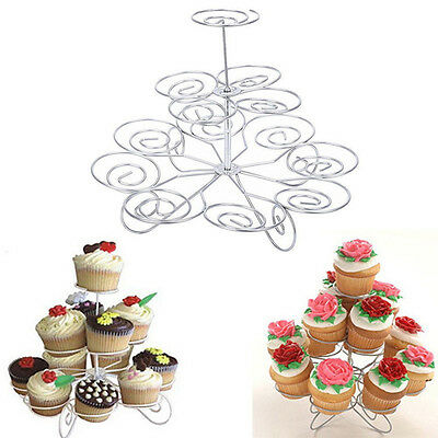 3 Tier 13 Cupcake Cake Dessert Metal Stand Holder  Birthday Party Display HU