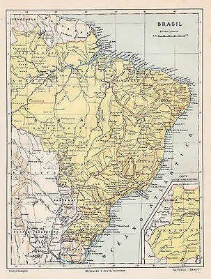 1912 Antique Map of Brazil