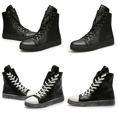 PU Leather Men's Casual Outdoor Boots Lace Up Shoes Fashion footwear Black White