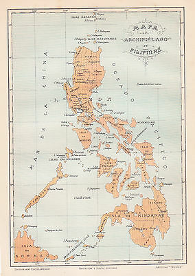 1912 Antique Map of the Philippines