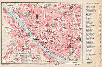 1912 Antique Map of Florence, Italy