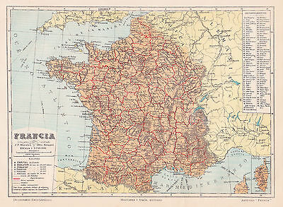 1912 Antique Map of France