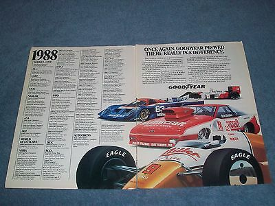 1989 Goodyear Tires Vintage 2pg Racing Ad 1988 Series Champs Glidden