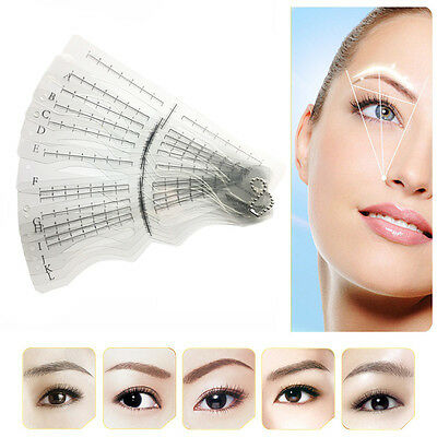12 Eyebrow Grooming Shaping Stencil Kit Brow Template Makeup Shaper DIY Tool