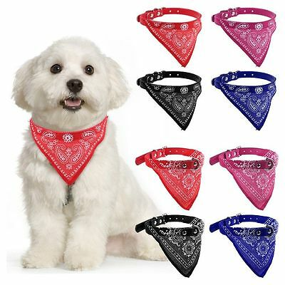 Lovely Adjustable Pet Dog Cat Neck Scarf Bandana Leather Collar Neckerchief S-XL