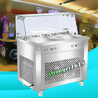 double square pan fried ice cream roll machine with Dust cover 2 compressor