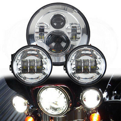 7'' Chrome LED Projector Daymaker Headlight + 2x 4.5'' Passing Lights For Harley