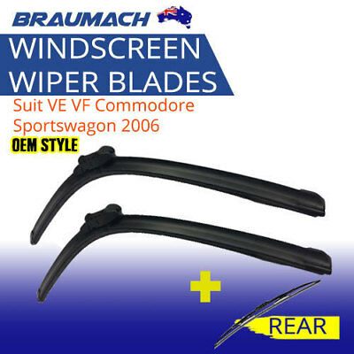 Front and Rear Wiper Blades Suit VE VF Commodore Sportswagon 2006-Braumach