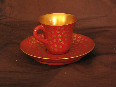 Japanese Meiji Period Lacquer Wood Cup & Saucer Set /